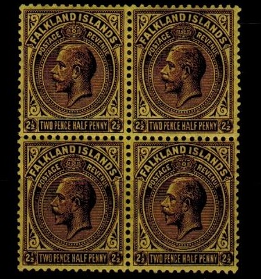 FALKLAND ISLANDS - 1921-28  2 1/2d deep purple on pale yellow fine mint block  of four.  SG 77.