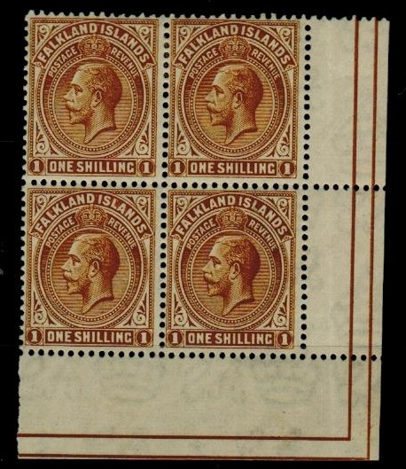 FALKLAND ISLANDS - 1921-28  1/- deep ochre fine mint corner marginal block of four.  SG 79.