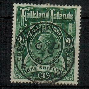 FALKLAND ISLANDS - 1923 3/- slate green fine used.  SG 80.