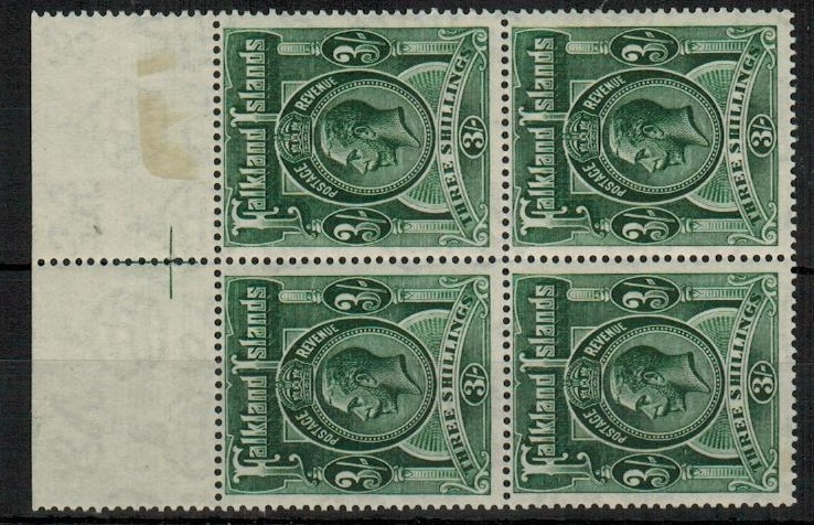 FALKLAND ISLANDS - 1923 3/- slate green  fine unmounted mint top marginal block of four.  SG 80.