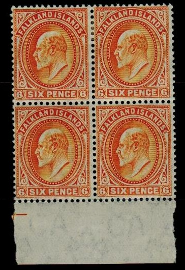 FALKLAND ISLANDS - 1904 6d orange fine mint marginal block of four.  SG 47.