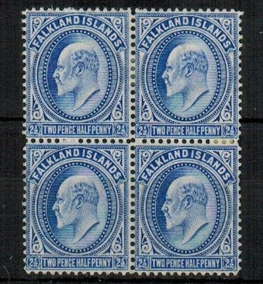 FALKLAND ISLANDS - 1904 2 1/2d ultramarine fine mint block of four.  SG 46.