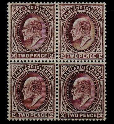 FALKLAND ISLANDS - 1904 2d purple fine mint block of four.  SG 45.