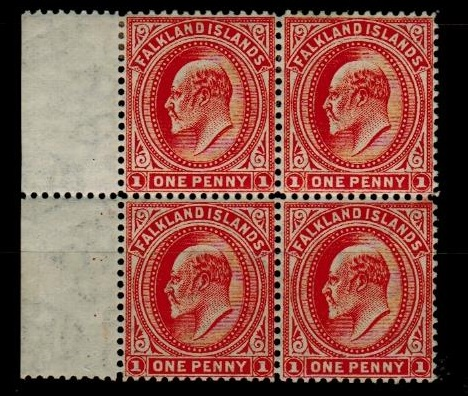 FALKLAND ISLANDS - 1906 1d vermilion (sideways watermark) fine mint block of four.  SG 44b.