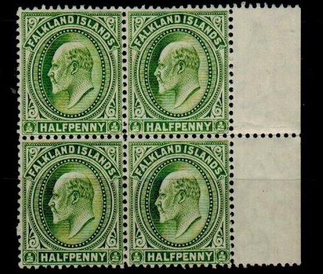 FALKLAND ISLANDS - 1904 1/2d yellow green fine mint marginal block of four.  SG 43.
