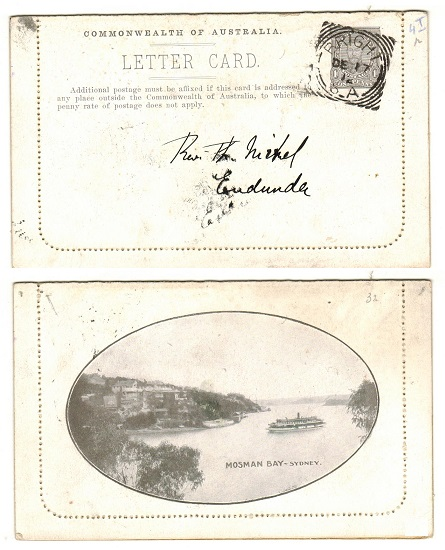 AUSTRALIA - 1911 1d brown illustrated letter card cto