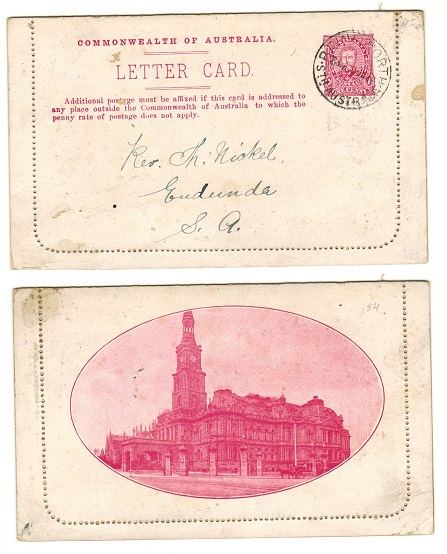 AUSTRALIA - 1911 1d red illustrated letter card cto