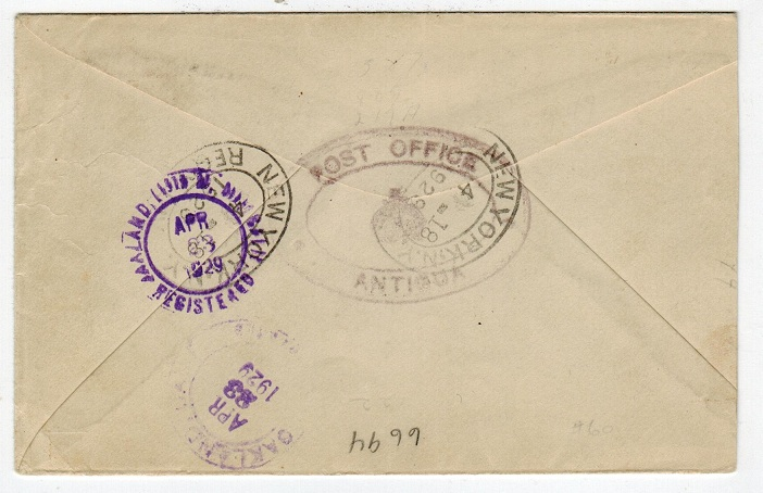 ANTIGUA - 1929 registered cover to USA bearing 1/- used at ST.JOHNS.