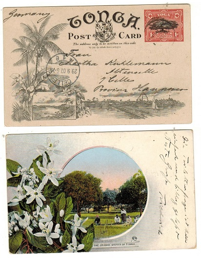 TONGA - 1906 1d red and black illustrated PSC to Germany used at NUKUALOFA.  H&G 1 (9).