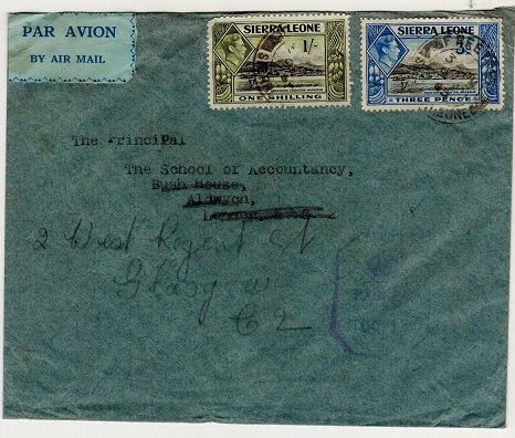 SIERRA LEONE - 1943 1/3d rate censored cover to UK.