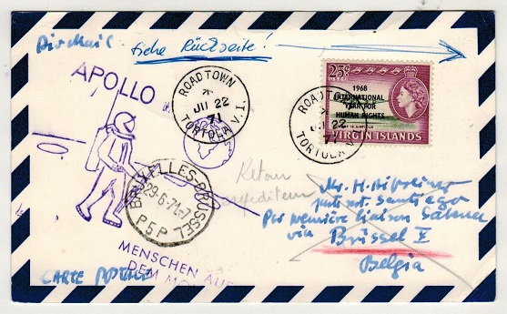 BR.VIRGIN ISLANDS - 1971 25c rate card to Germany with violet APOLLO cachet.