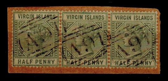 BRITISH VIRGIN ISLANDS - 1883 1/2d dull green (x3) on small piece cancelled by