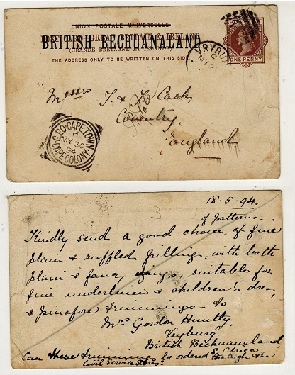 BECHUANALAND - 1888 1d brown PSC to UK used at VRYBURG.  H&G 4.