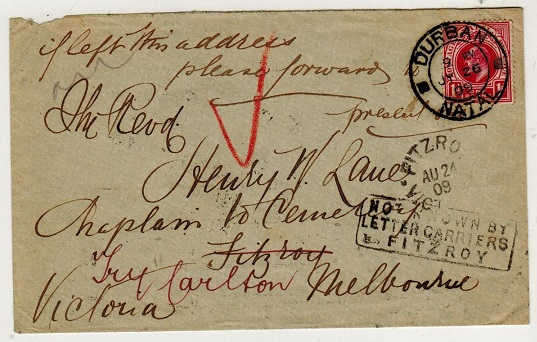 AUSTRALIA - 1909 inward cover from Natal with