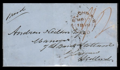 NEW BRUNSWICK - 1849 outer wrapper to UK cancelled ST.JOHN NB/PAID.