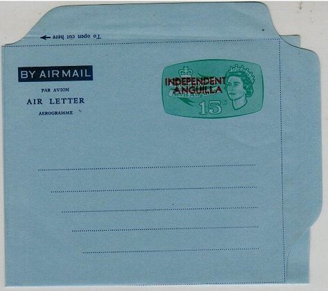 ANGUILLA - 1967 15c pale green on blue unused air letter overprinted INDEPENDENT/ANGUILLA. H&G FG2.