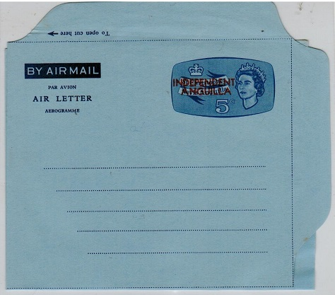 ANGUILLA - 1967 5c blue unused air letter overprinted INDEPENDENT/ANGUILLA.  H7G FG1.