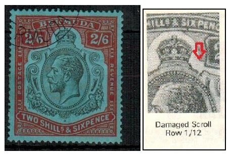 BERMUDA - 1929 2/6d black and red on blue fine used with BREAK IN SCROLL. Row 1/12.  SG 89ga.