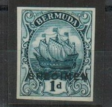 BERMUDA - 1910 1d imperforate PRINTERS TRIAL in indigo overprinted SPECIMEN.