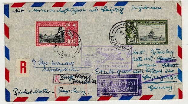 JAMAICA - 1955 flight cover to Germany with  MIT LUFTPOST/LEIPZIG-MOCKAU cachet.