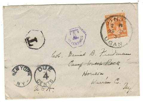 K.U.T. - 1932 20c underpaid cover to USA used at JINJA with