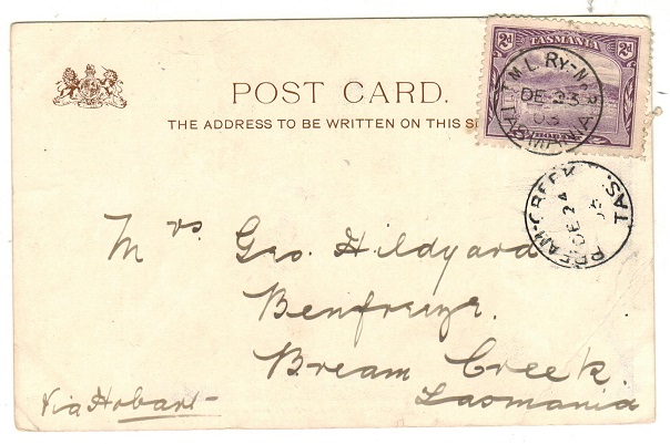 AUSTRALIA (Tasmania) - 1903 2d rate local postcard carried by T.M.L.RY-No.3. Scarce railway strike.
