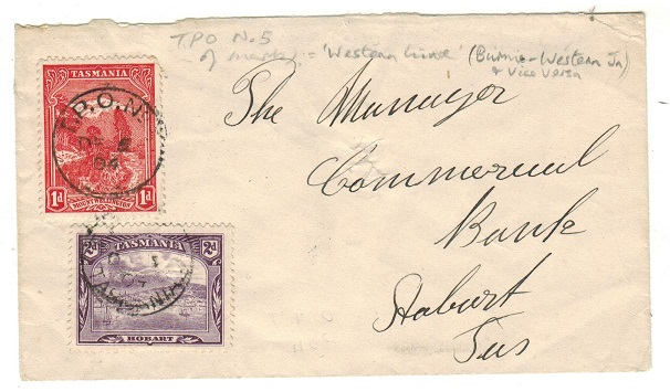 AUSTRALIA (Tasmania) - 1904 3d rate local cover used on T.P.O.No.5. A scarce railway strike.