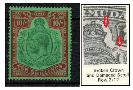 BERMUDA - 1930 10/- U/M with BROKEN CROWN AND SCROLL variety. SG 92gb.