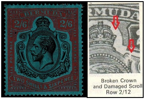 BERMUDA - 1931 2/6d fine mint condition with BROKEN CROWN AND SCROLL variety.  SG89jb.