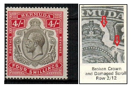 BERMUDA - 1920 4/- fine mint with BROKEN CROWN 