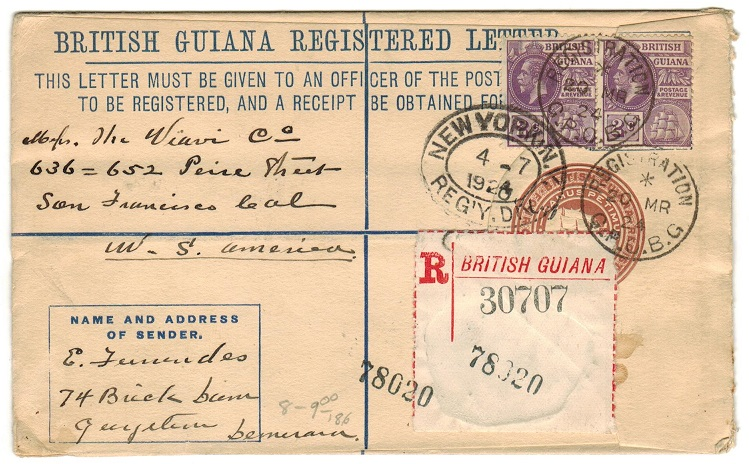 BRITISH GUIANA - 1922 4d brown RPSE uprated to USA used at REGISTRATION/GPO. B.G.  H&G 8.