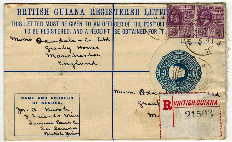 BRITISH GUIANA - 1923 6c blue RPSE uprated to UK used at MACKENSZIE.  H&G 9a.