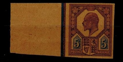 GREAT BRITAIN - 1902 5d IMPERFORATE PLATE PROOF in dull purple and ultramarine on buff paper.