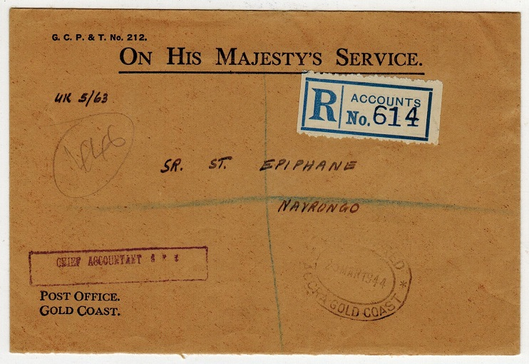 GOLD COAST - 1944 OHMS local registered cover used at ACCRA with rare