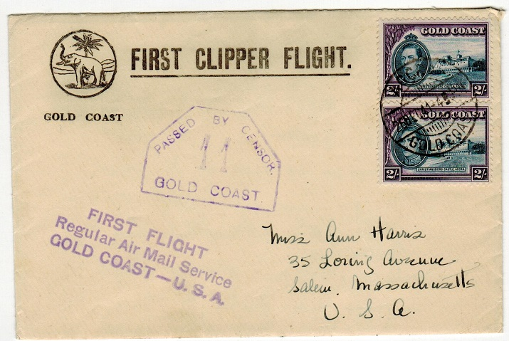 GOLD COAST - 1941 4/- rate FIRST CLIPPER FLIGHT illustrated