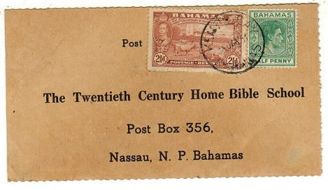 BAHAMAS - 1951 bible course card addressed locally used at  KEMPS BAY/BAHAMAS cds.