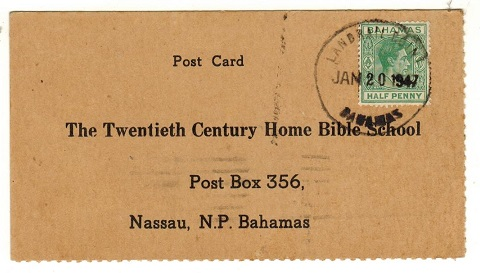 BAHAMAS - 1947 use of bible course card addressed locally used at LANDRAIL POINT/BAHAMAS.