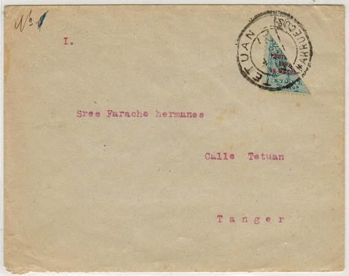 MOROCCO AGENCIES (Spanish Zone) - 1921 30c VERTICALLY BISECTED local cover used at TETUAN.