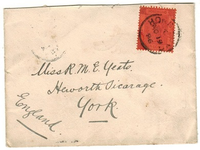 HONG KONG - 1898 5c rate cover to UK.