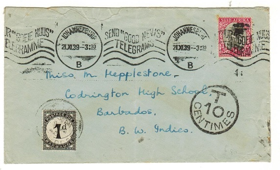 BARBADOS - 1939 inward underpaid cover from South Africa with 1d