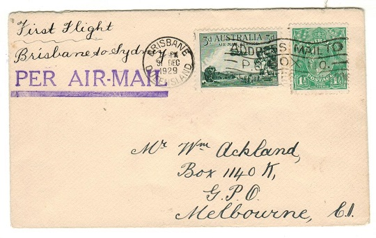 AUSTRALIA - 1929 first flight cover to Melbourne on the