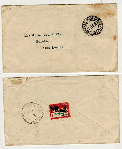 JAMAICA - 1933 local stampless cover cancelled