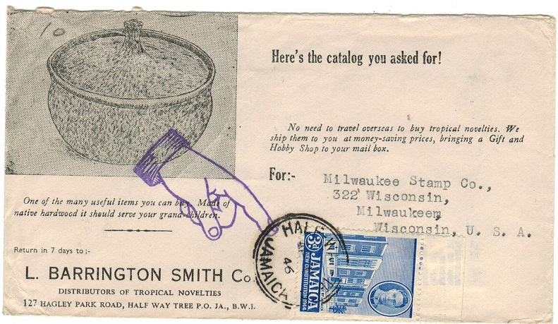 JAMAICA - 1946 illustrated (Barrington Smith) 3d rate cover to USA used at HALF WAY TREE.