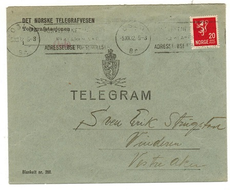 NORWAY - 1932 TELEGRAM envelope bearing 20 ore adhesive used at OSLO.
