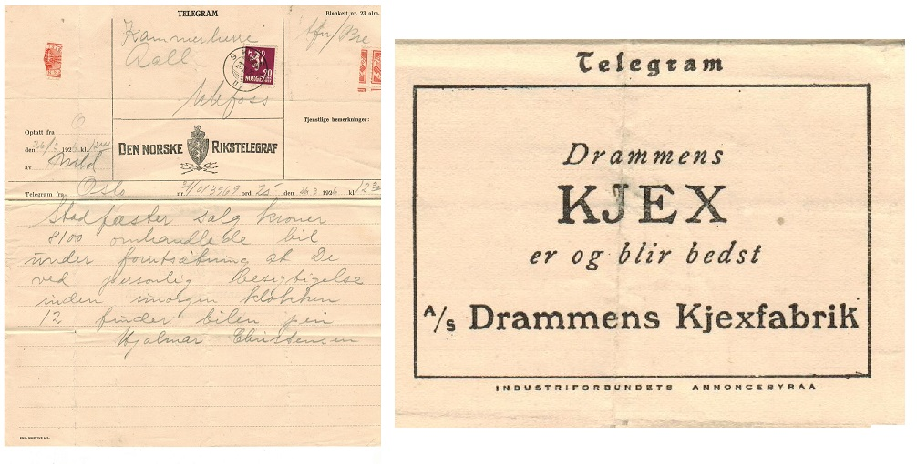 NORWAY - 1926 TELEGRAM sheet used locally bearing 20 ore adhesive used at SKIEN.