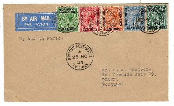 MOROCCO AGENCIES - 1934 flight cover to Portugal used at TETUAN.