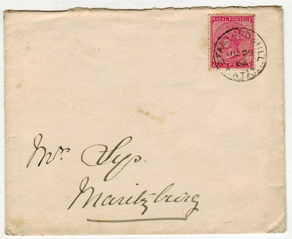 NATAL - 1883 1d rate local cover used at STAMFORD HILL.