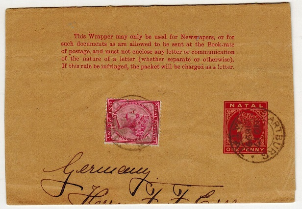 NATAL - 1885 1d carmine postal stationery wrapper uprated to Germany used at WARTBURG.  H&G 2.