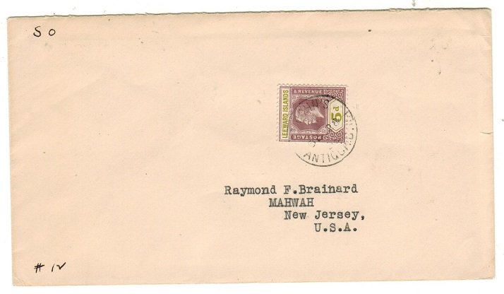 ANTIGUA - 1933 5d rate cover to USA used at ST.JOHN