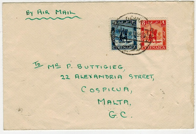 CYRENAICA EMIRATE - 1950 28m rate cover to Malta used at DERNA 2.